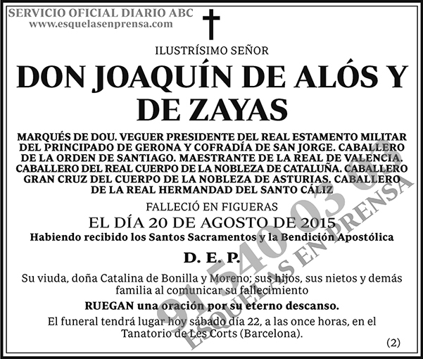 Joaquín de Alós y de Zayas